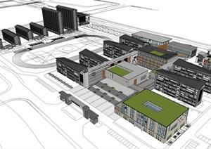 现代新中式风格中学校园规划教学楼建筑设计