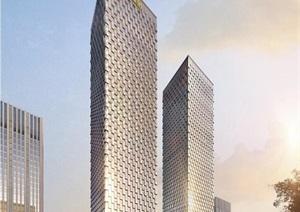 现代超高层呼吸幕墙表皮办公写字楼双塔配套商业综合体