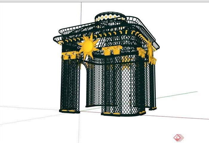 欧式风格铁艺素材亭子素材su模型