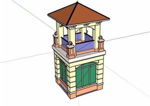 欧式景观塔素材设计SU(草图大师)模型