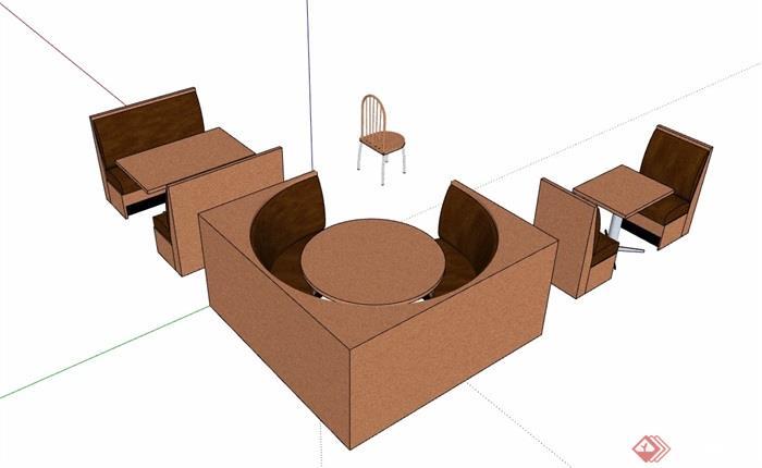 详细的完整餐桌椅素材设计su模型
