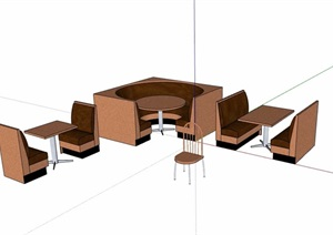 详细的完整餐桌椅素材设计SU(草图大师)模型