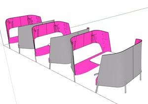 详细的洽谈桌椅素材设计SU(草图大师)模型