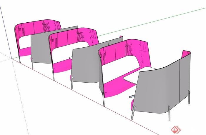 詳細的洽談桌椅素材設計su模型