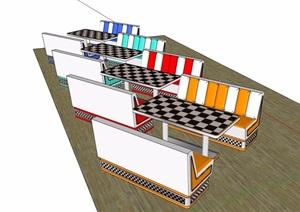 详细的完整桌椅素材设计SU(草图大师)模型