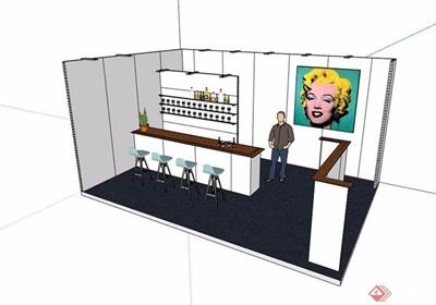 详细的售卖展厅素材设计su模型
