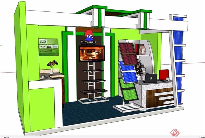 現代詳細的售賣展廳素材設計su模型
