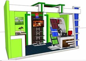 现代详细的售卖展厅素材设计SU(草图大师)模型