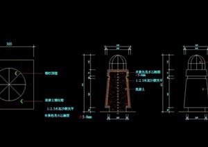现代详细的整体景观灯柱cad施工图