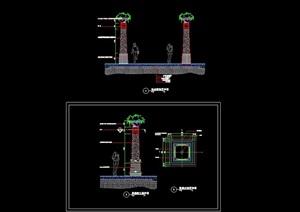 园林景观详细的景观柱cad施工图