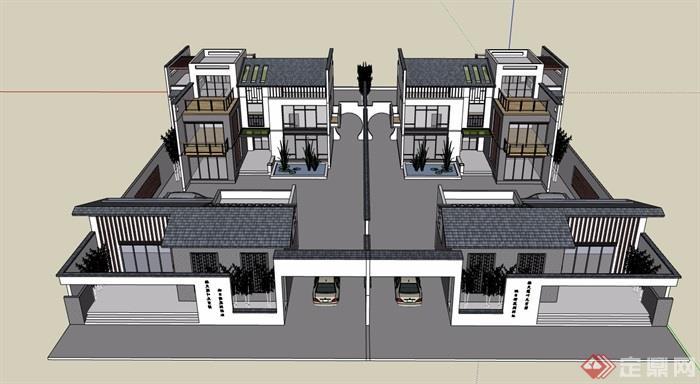 现代中式详细的经典完整别墅设计su模型
