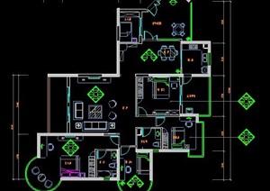 四房兩廳高檔住宅室內裝飾設計圖