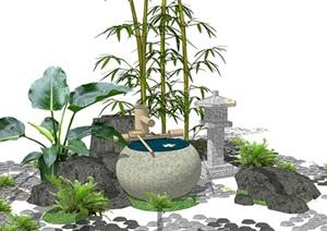 新中式禅意景观小品 庭院小品SU(草图大师)模型