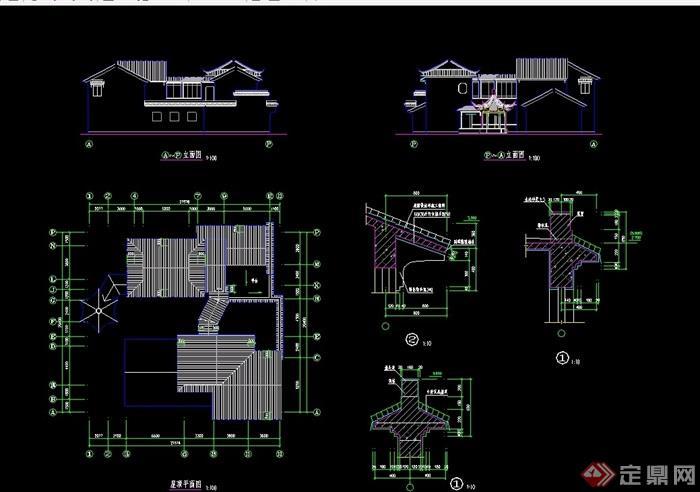 古典中式三套別墅建筑cad方案圖