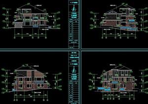 三层别墅全套建筑cad施工图