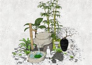新中式禅意景观小品 庭院景观SU(草图大师)模型