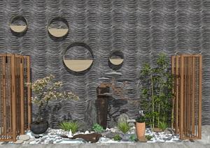 新中式禅意景观建筑庭院景观SU(草图大师)模型