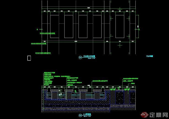園林景觀詳細的汀步素材設計cad施工圖