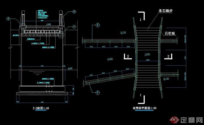 现代中式详细的园桥素材cad施工图