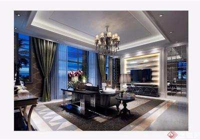 現代整體的客廳裝飾3d模型及效果圖