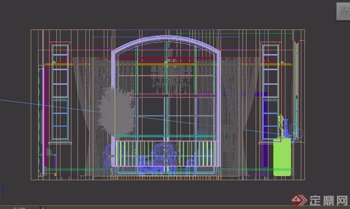 现代整体的客厅装饰3d模型及效果图
