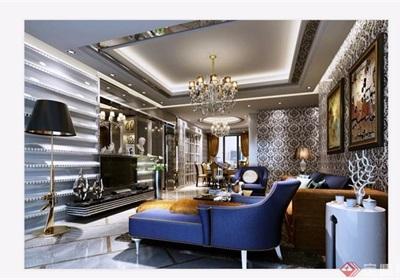 歐式風格詳細完整的客廳素材3d模型及效果圖
