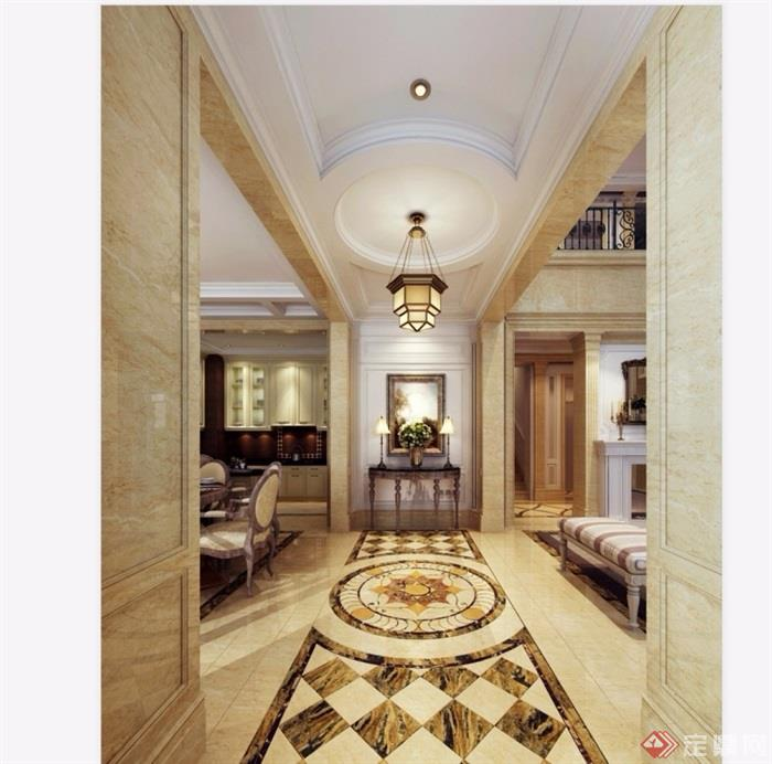 欧式风格详细的客厅3d模型及效果图