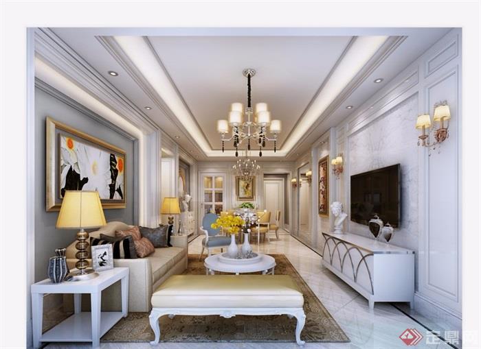 详细的欧式风格整体客厅空间装饰设计3d模型及效果图