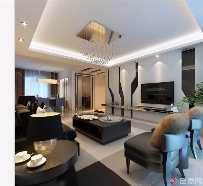 详细的整体完整客厅素材3d模型及效果图