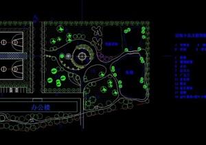 详细的办公楼前园林景观设计cad图纸