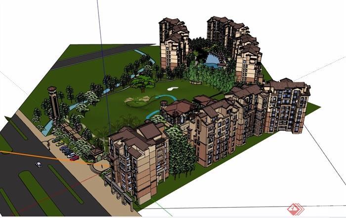 欧式详细的完整小区建筑及景观设计su模型