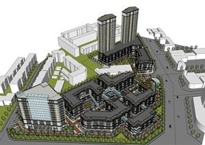某歐式 商業街模型SU(草圖大師)精細模型