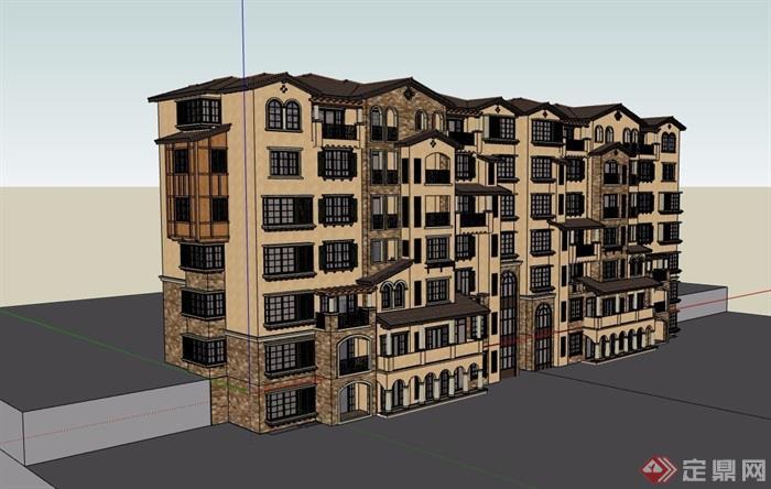 详细的多层小区欧式住宅楼su模型