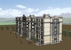 六层详细的美式风格住宅楼建筑SU(草图大师)模型
