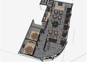 仿古中式风情餐厅内部室内空间设计