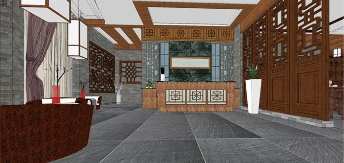 仿古中式风情餐厅内部空间设计(2)