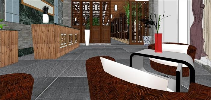 仿古中式风情餐厅内部空间设计(3)