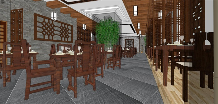 仿古中式风情餐厅内部空间设计(4)