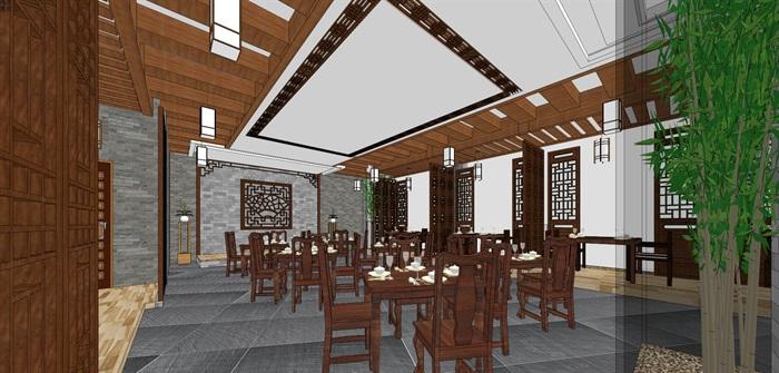 仿古中式风情餐厅内部空间设计(5)