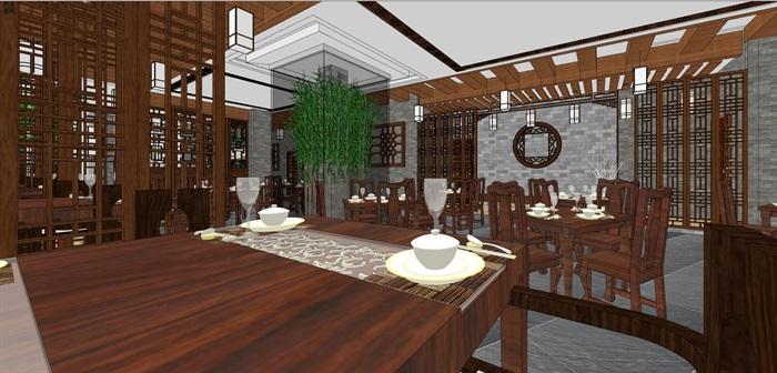 仿古中式風情餐廳內部空間設計(6)
