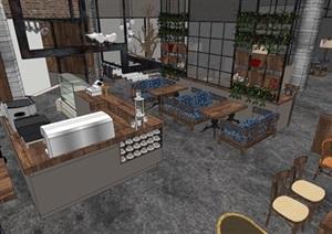 某loft咖啡厅SU(草图大师)精细霸气模型帅酷
