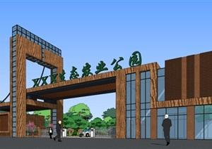 生态农业园入口大门SU(草图大师)精细霸气模型酷