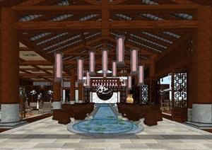 中式餐饮休闲会所室内设计模型SU(草图大师)精细霸气模型酷