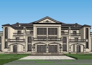 美式风格双拼住宅别墅设计SU(草图大师)模型带场景