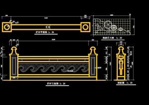 欧式详细的整体栏杆设计cad施工图