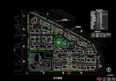 現代詳細的整體小區規劃cad方案圖