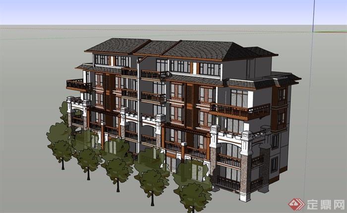 四層住宅詳細完整設計su模型