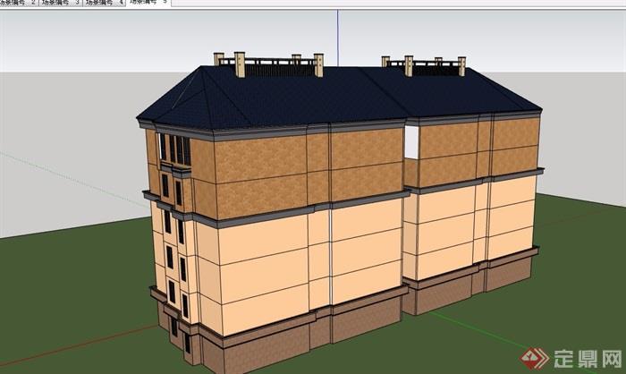 歐式詳細的完整六層住宅小區建筑su模型