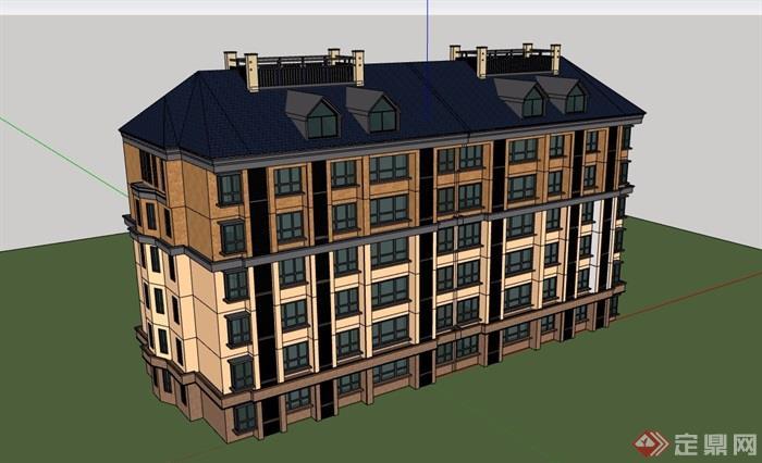 欧式详细的完整六层住宅小区建筑su模型