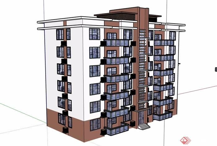 六層小區居住建筑樓詳細設計su模型